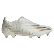 adidas X Ghosted + Football Boots White/Gold US Mens 7 / Womens 8, White/Gold, rebel_hi-res