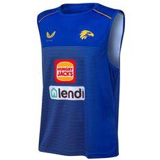 West Coast Eagles 2021 Mens Training Singlet Blue S, Blue, rebel_hi-res