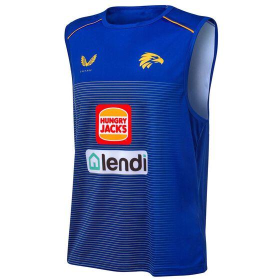 West Coast Eagles 2021 Mens Training Singlet, Blue, rebel_hi-res