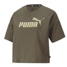 Puma Womens Essentials Cropped Logo Tee Green XS, , rebel_hi-res