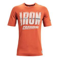 Under Armour Project Rock Mens Iron Paradise Tee Orange XS, Orange, rebel_hi-res