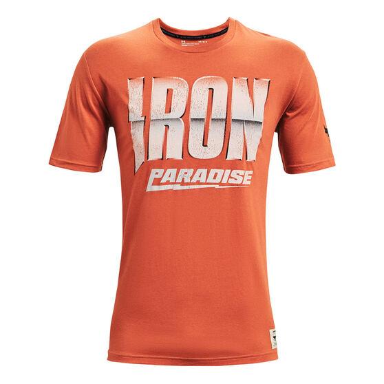 Under Armour Project Rock Mens Iron Paradise Tee, Orange, rebel_hi-res