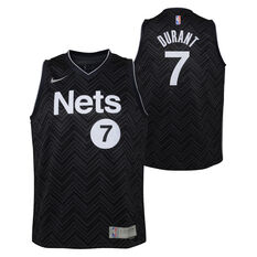Nike Brooklyn Nets Kevin Durant 2020/21 Kids Earned Jersey, Black, rebel_hi-res