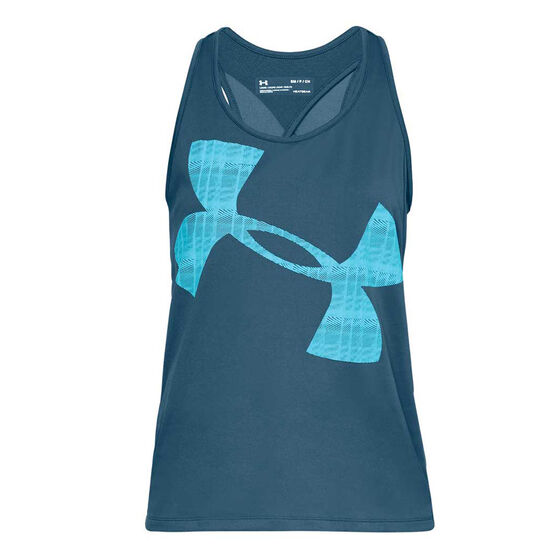 Under Armour Womens Tech Graphic Tank, Blue, rebel_hi-res