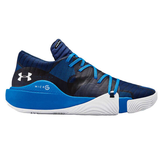Under Armour Spawn Low Mens Basketball Shoes, Blue / White, rebel_hi-res