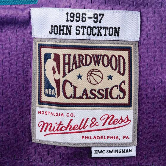 Utah Jazz Mens John Stockton 96/97 Swingman, Purple, rebel_hi-res