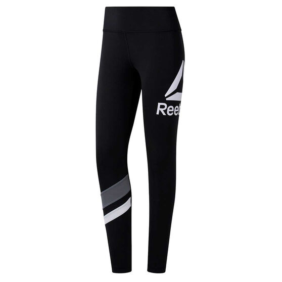 Reebok Womens Workout Ready Big Logo Tights Black XS, Black, rebel_hi-res