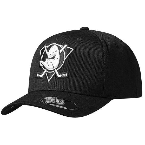 Anaheim Ducks Black and White Crest 110 Cap, , rebel_hi-res