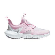 Nike Free RN 5.0 Kids Running Shoes, Pink / White, rebel_hi-res