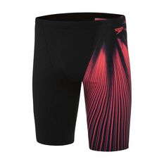 Speedo Mens Ravenswood Jammer Swim Shorts Black / Red 14 Adult, Black / Red, rebel_hi-res