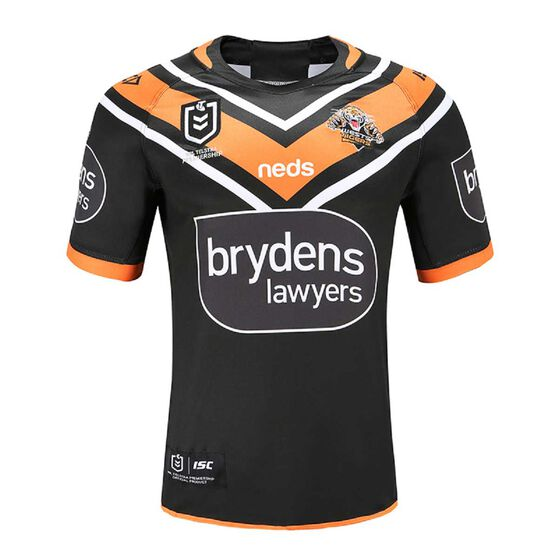 Wests Tigers 2020 Mens Home Jersey, Black / Orange, rebel_hi-res