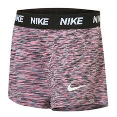 Nike Girls Wavy Jaquard Mesh Shorts Pink 4, Pink, rebel_hi-res