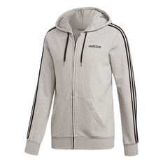adidas Mens Essentials 3-Stripes Full Zip French Terry Hoodie Grey S, Grey, rebel_hi-res