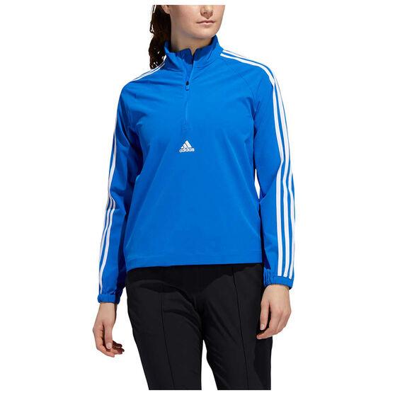 adidas Womens Woven 3-Stripes Half Zip Training Top, Blue, rebel_hi-res