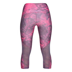 Under Armour Womens HeatGear Armour Capri Tights Purple / Silver XS, Purple / Silver, rebel_hi-res