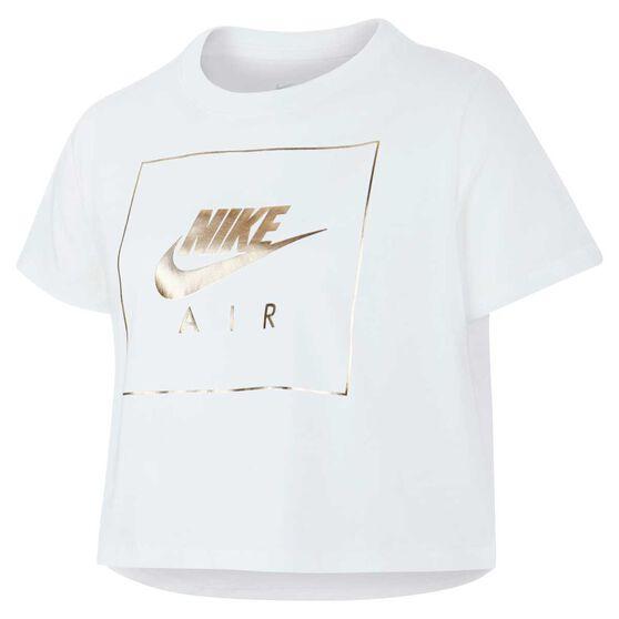 Nike Girls Crop Top, White, rebel_hi-res
