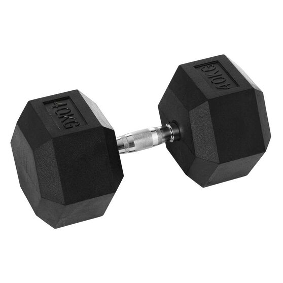 Celsius 40kg Rubber Hex Dumbbell, , rebel_hi-res