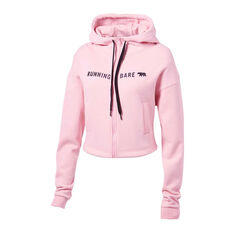 Running Bare Womens Most Wanted Full Zip Hoodie Pink 8, Pink, rebel_hi-res