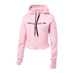 Running Bare Womens Most Wanted Full Zip Hoodie Pink 12, Pink, rebel_hi-res