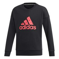adidas Girls Badge of Sport Sweatshirt Black / Pink 6, Black / Pink, rebel_hi-res