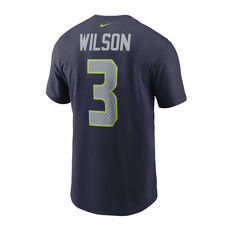 Seattle Seahawks Russell Wilson 2020 Mens Essential Tee, Navy, rebel_hi-res