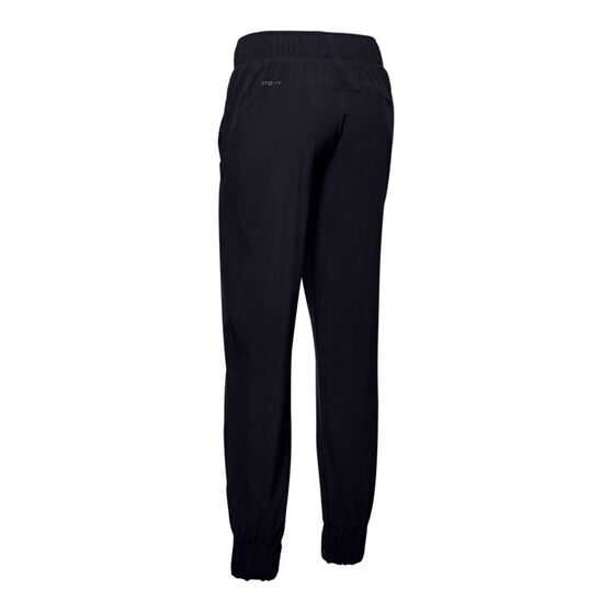 Under Armour Womens Woven Track Pants, Black, rebel_hi-res