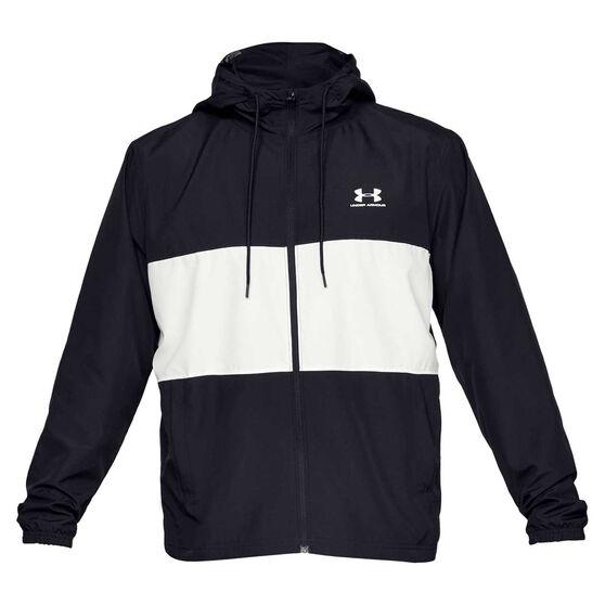 Under Armour Mens Sportstyle Windbreaker Jacket, Black / White, rebel_hi-res