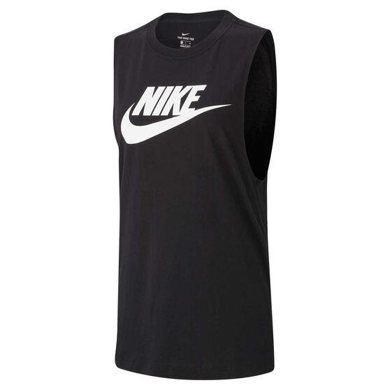 Nike Womens Sportswear Essential Tank, Black /  White, rebel_hi-res