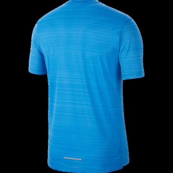 Nike Mens Dri-FIT Miler Short Sleeve Running Top, Blue, rebel_hi-res