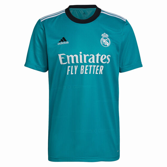 Real Madrid 2021/22 Mens Replica 3rd Jersey Turquoise S, Turquoise, rebel_hi-res