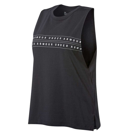 Under Armour Womens Graphic WM Muscle Tank, Black, rebel_hi-res