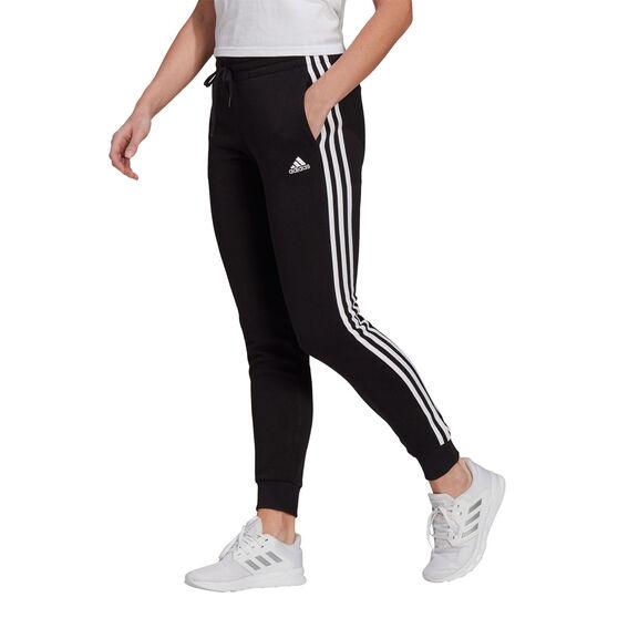 adidas Womens Essentials Fleece 3-Stripes Pants, Black, rebel_hi-res
