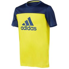adidas Boys Equip Tee Yellow / Blue 6, Yellow / Blue, rebel_hi-res