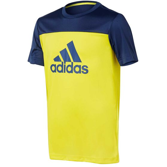 adidas Boys Equip Tee, Yellow / Blue, rebel_hi-res