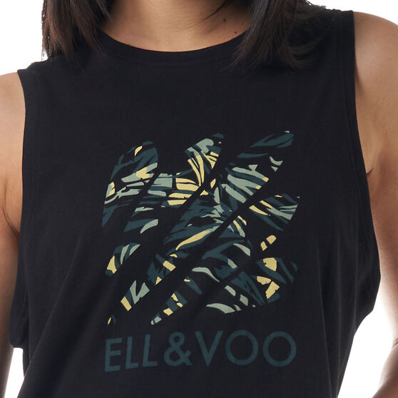 Ell & Voo Womens Taylor Logo Muscle Tank, Print, rebel_hi-res