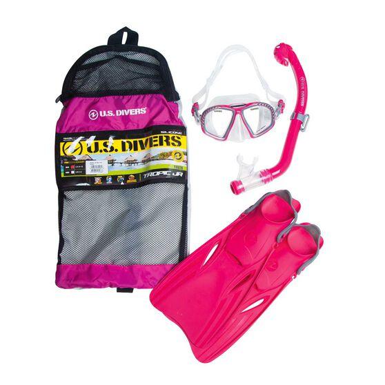 US Divers Tropic Junior Snorkel and Fin Set Raspberry S / M, Raspberry, rebel_hi-res