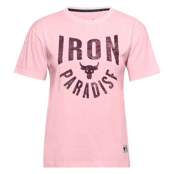 Under Armour Womens Project Rock Graphic Tee, Pink, rebel_hi-res