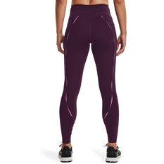 Under Armour Womens UA Rush Scallop Full Length Tights, Purple, rebel_hi-res