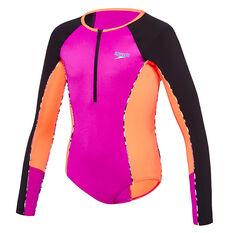 Speedo Girls Paddle Long Sleeve Swim Suit Purple 8, Purple, rebel_hi-res