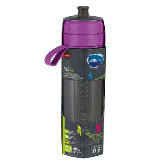 Brita Fill and Go Active 600ml Filter Water Bottle Purple, , rebel_hi-res