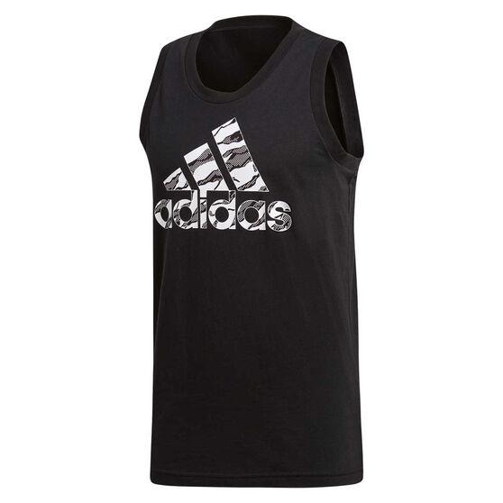 adidas Mens Badge of Sport Camo Tank, Black, rebel_hi-res