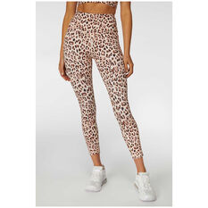 L'urv Womens Lola Leopard 7/8 Tights Pink M, Pink, rebel_hi-res