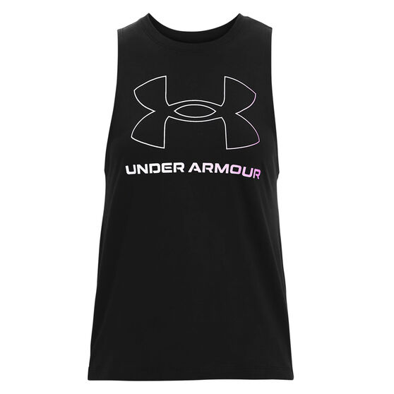 Under Armour Womens Sportstyle Graphic Muscle Tank, Black, rebel_hi-res