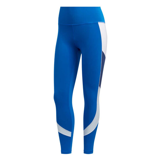 adidas Womens Believe This Retro Block Tights, Blue, rebel_hi-res