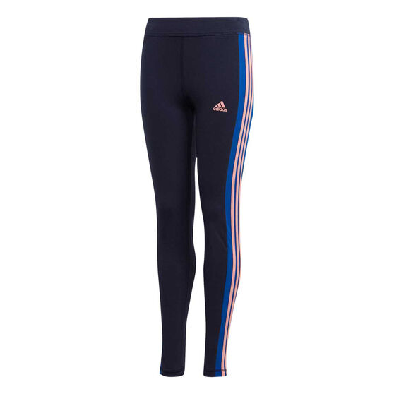 adidas Girls 3-Stripes Tights, Navy, rebel_hi-res