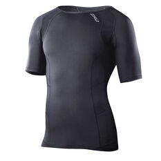 2XU Mens Short Sleeve Compression Top Black XS Adult, Black, rebel_hi-res