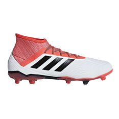 adidas Predator 18.2 FG Mens Football Boots White / Black US 7 Adult, White / Black, rebel_hi-res