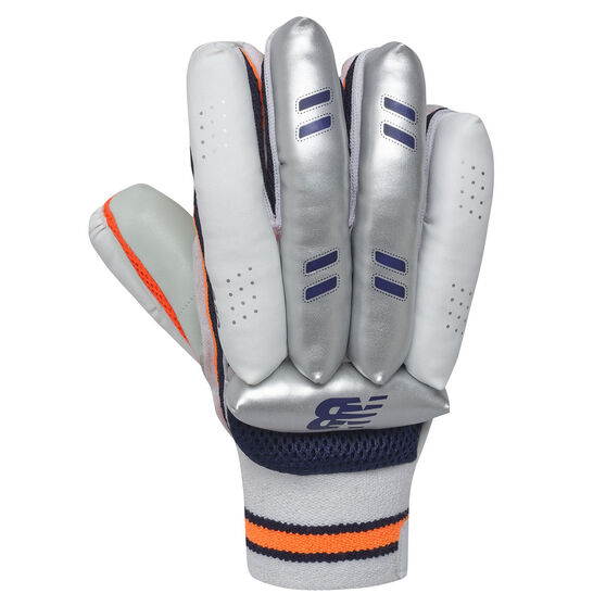 New Balance DC Covert Junior Cricket Batting Gloves, Blue/Orange, rebel_hi-res