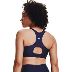 Under Armour Womens Armour Mid Keyhole Graphic Sports Bra Navy XS, Navy, rebel_hi-res