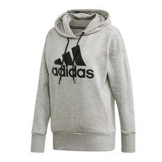adidas Womens Badge Of Sport Long Hoodie Grey XS, Grey, rebel_hi-res